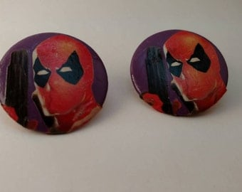 Round Deadpool Earrings, post back, upcycled