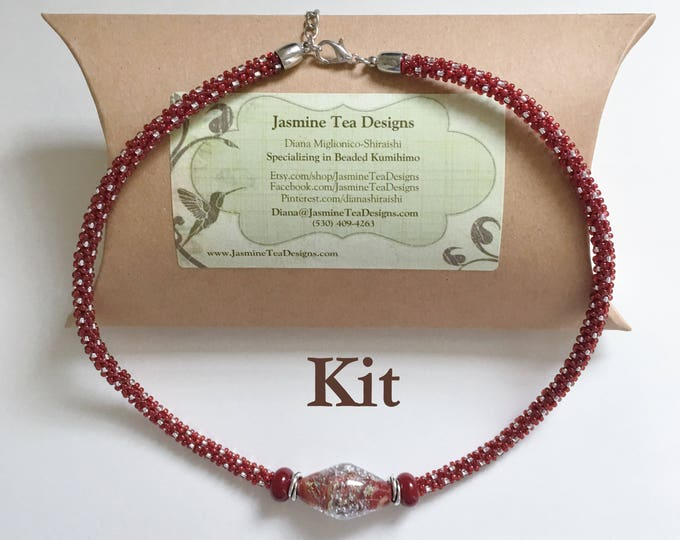 Cranberry Season Kit, A Fully Beaded Kumihimo Necklace With Focal Grouping And Extender Clasp, Beaded Kumihimo Jewelry, Garnet, Cranberry