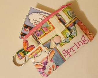 Zipper Mini Wallet Pouch Key Chain Card holder - Spring at Last Bunnies