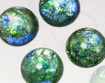 Green Opal Cabochons 4 pcs 16mm Vintage Glass Stones S-9