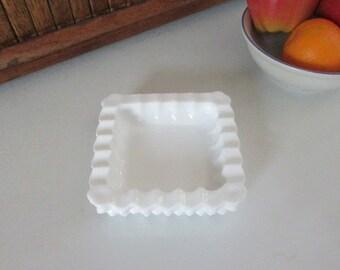 Square Hobnail Milk Glass Candy Dish / Ashtray – Vintage White Milk Glass Tobacciana