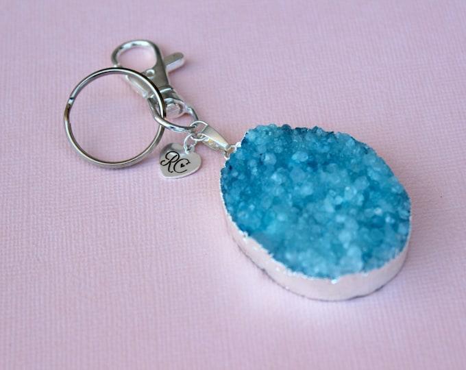 Blue Druzy Keyring/Bag Charm.