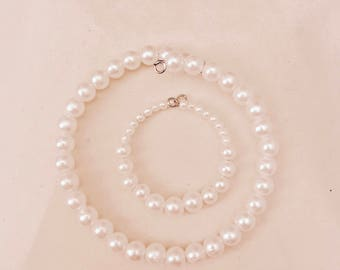 American Girl Sized Choker Necklace and Bracelet with Faux Pearls
