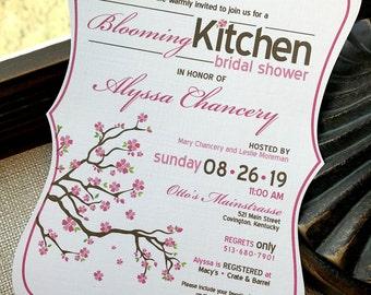 Blooming Kitchen Cherry Blossom Tree Hand Cut Bridal Shower Invitation... Sample