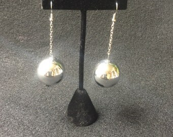 Mod Space Age Groovy Silver Ball Vintage Earrings