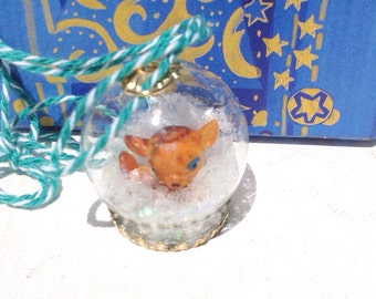 Handmade miniature Christmas dome pendant necklace with deer and snow. Christmas ornament.