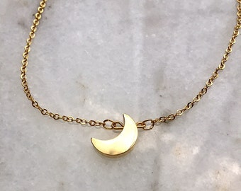 Minimalist Tiny Gold crescent moon necklace - dainty choker necklace - 16k gold plated - 15 inch floating necklace BLKANDNOIR