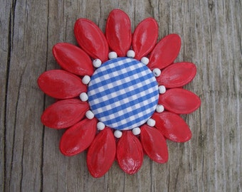 Red, White, Blue Fabric Button Brooch, Dried Sunflower Lapel Pin