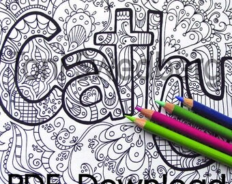 Cathy - Name Art - One Coloring Page - PDF Download - Hand Drawn Image