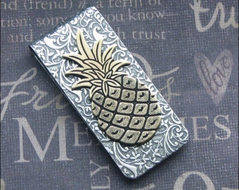 Pineapple Money Clip Mixed Metal Groomsmen Wedding Gift Money Holder Hawaiian Money Clip Father's Day Vintage Style Credit Card Holder