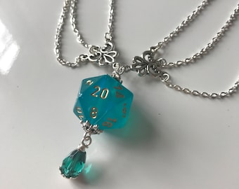 borealis dice necklace dungeons and dragons pendant teal dice pendant D20 translucent pendant dice jewelry dice necklace geek chessex dice