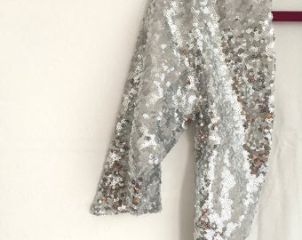 Discounted Medium - New Silver - Silver Sequin Bridal Bolero, Silver Sequin Jacket, Silver Bolero, Bridal Bolero, Shiny Silver Bolero