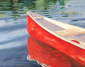 "Northern Bliss.  Original oil painting on stretched canvas by Yvonne Wagner. Red Canoe. Boat. Lake. Summer. 20"" x 20"" (50 x 50 cm)"