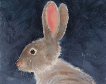 """Quiet Bunny. original 8"""" x 8"""" oil painting on Centurion Linen Canvas Panel. Bunny painting. Rabbit painting. Yvonne Wagner. Nursery. Easter."""