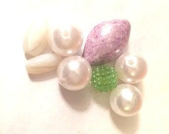 Supplies - Large Bead Assortment - Pearl. Stone, Plastic, Vintage