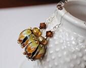 Chevron Earrings, Lampwork Glass Earrings, Beaded Earrings, Brown Earrings, Geometric Earrings