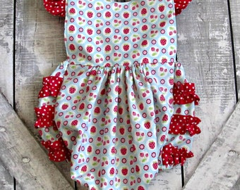 Baby Girls Ruffled Romper- Light Blue with Red Strawberries- Summer Romper- Toddler Girls Romper-  Sizes- 0 3 6 9 12 18 Months 2T 3T