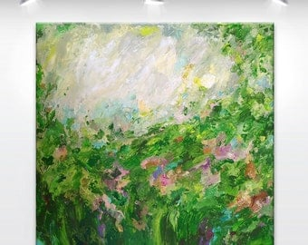 MADE2ORDER - XXLarge Semi ABSTRACT original painting - 'Can hear the bees' - green, meadow, garden, nature - OOAK