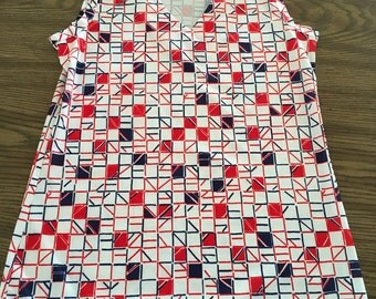 Vintage Sears brand geometric collared womens sleeveless top