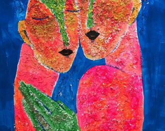Chloe and Clarissa - ooak - 20 x 16ins (50 x 40cms) They're always together. Friends from the start