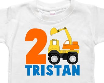 Boys Birthday Shirt - Personalized - Toddler Birthday - Birthday Shirt - Digger Truck Boy