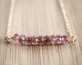 EASTER SALE Watermelon Tourmaline Necklace - Juicy Pink and Melon Green - 14K Gold Fill, Rare