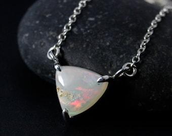 Triangular Australian Opal Necklace - October Birthstone - Geometric Necklace, 925 Silver