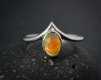 Colorful Australian Opal Ring, October Opal Birthstone Ring, Point Ring