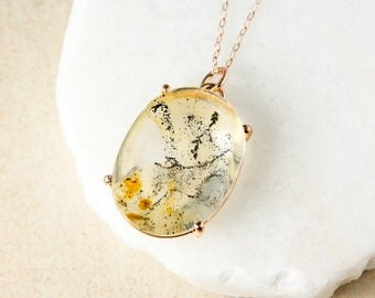 Oval Dendritic Quartz Necklace - Yellow Dendritic Quartz Pendant - Nature Inspired
