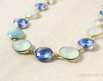 Gold Blue Gemstone Bib Necklace - Blue Quartz, Aqua Chalcedony - 14Kt Gold Filled