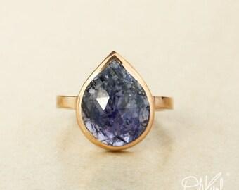Rose Gold Blue Iolite Teardrop Ring - Rose Cut Iolite - Choose Your Setting