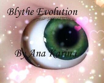 Blythe eye chips OOAK REALISTIC custom set D16, by Ana Karina. UV laminated