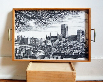 Vintage Wood Tray 70s Durham Cathedral British Souvenir Art by Ronald Beavan Cottage Home Decor.