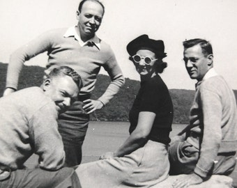 Vintage Photograph 50s Vacation Woman in Sunglasses Beret with Men Friends at Mountain Lake.
