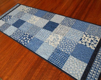 Blue and White Quilted Table Runner, Modern Table Runner, Dining Table Decor, Coffee Table Runner, Quilted Table Topper, Quilted Tablecloth