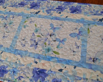 Purple and Blue Butterfly Quilted Table Runner, Bedroom Decor, Gift for Her, Dresser Runner, Table Decor, Cottage Chic Decor, Table Topper