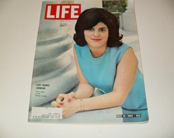 Vintage Life Magazine May 15 1964 - Luci baines Johnson Cover - Art  Scrapbooking Paper Ephemera Collectible
