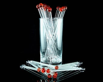 Glass Swizzle Sticks, Glass Drink Stirrers, Cocktail Stirrers, Glass Stir Sticks, Borosilicate Glass, Red (Set of 8)
