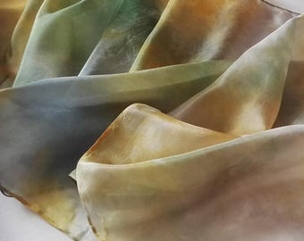 Hand Painted Silk Scarf in Soft Silver Greys, Olive Greens and Golden Yellows