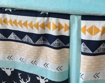 Crib Skirt, Aztec Crib Skirt, Tailored Crib Skirt, Deer Crib Skirt, Baby Bed Skirt, Mint Crib Skirt, Boy Crib Skirt
