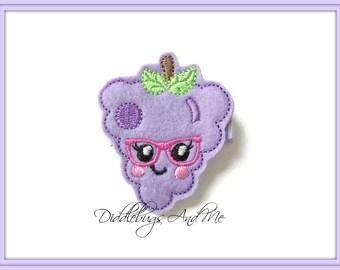 Kawaii Grapes Hair Clip, Purple Grapes Hair Clip, Girls Felt Hair Clip, Toddler Hair Clips, Summer Hair Clip, Felt Grapes Hair Clip