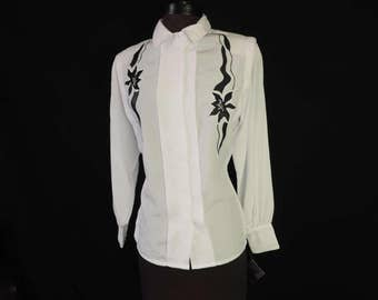 black and white blouse 80s floral embroidered secretary button down floral bodice dress top large new old stock