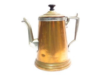 New Imperial Copper Coffee Pot / Teapot Vintage early 1900s Hinged Lid Beverage Pot