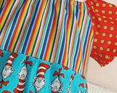 Size 9/10 Dr. Seuss Stripe Peasant Play Dress