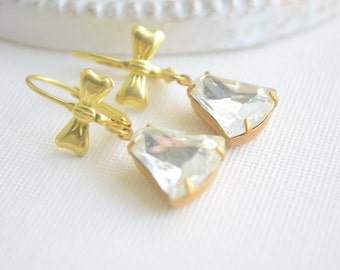Gold Bow Earrings, Clear Crystal Earrings, Vintage Jewel Earrings, Bell Shaped Jewels Earrings with Lever Back Ear Wires with Bow Gift for