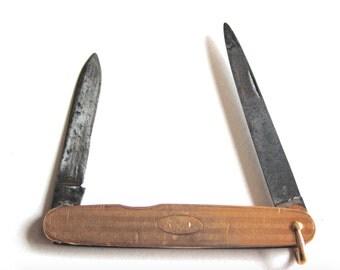 Vintage Pocket Knife, Mid Century Mad Men, Rose Gold, AVM Monogram, Nail File