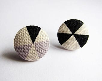 Clip On Earrings / Stud Earrings / Button Earrings - pinwheel pattern earrings