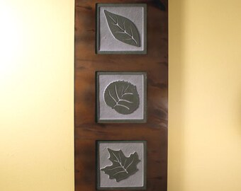 Natural Stone Wall Art Trio - Leaves on Green Slate w/ Rust Frame