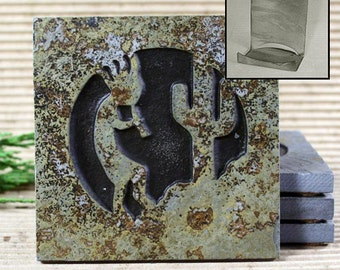 Etched Natural Stone Coaster Set with Holder - Kokopelli 4 on Copper Slate
