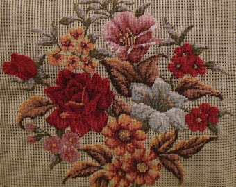Vtg. Preworked Handmade Needlepoint Tapestry FLORAL Petitpoint Canvas #3